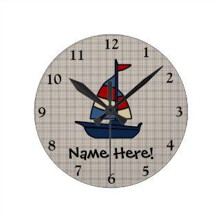 Personalized Nautical Sailboat Blue/Tan Boy's Wallclocks