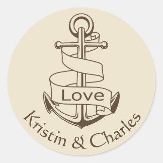 Personalized Nautical Ship Anchor Tan Wedding Love Round Sticker