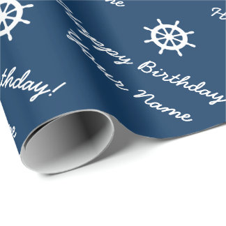 Personalized nautical ship wheel blue and white wrapping paper