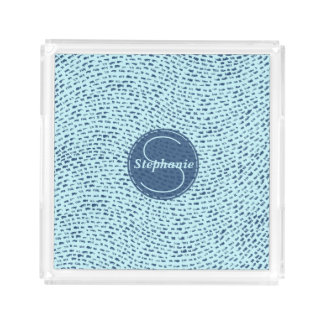 Personalized Navy and Powder Blue Dash Marks Acrylic Tray