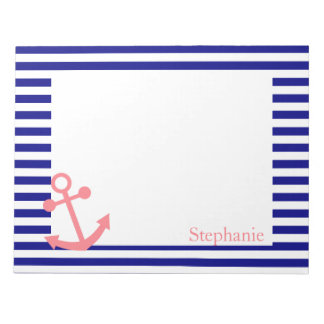 Personalized Navy Blue and Blush Pink Nautical Notepad