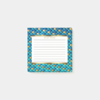 Personalized Navy Blue and Gold Mermaid Scales 3x3 Post-it Notes