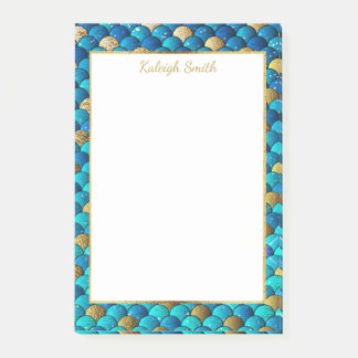 Personalized Navy Blue and Gold Mermaid Scales Post-it Notes