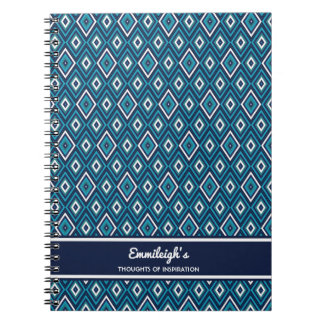 Personalized Navy Blue and White Diamond Journal