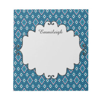 Personalized Navy Blue and White Diamond Pattern Notepad