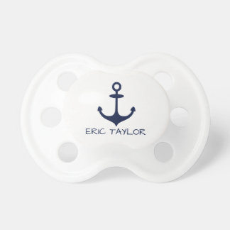 Personalized Navy Blue Nautical Anchor Baby Pacifiers