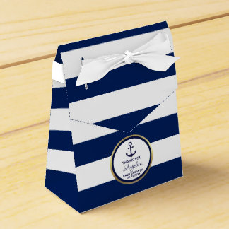 Personalized Navy Blue Nautical Bridal Shower Favour Box