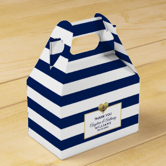 Personalized Navy Blue Nautical Heart Wedding Favour Box