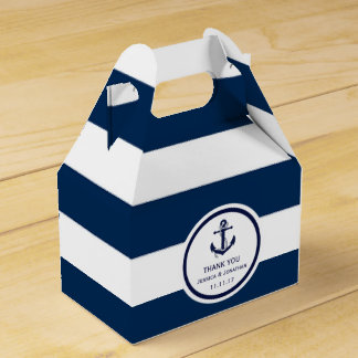 Personalized Navy Blue Nautical Wedding Favor Party Favour Box