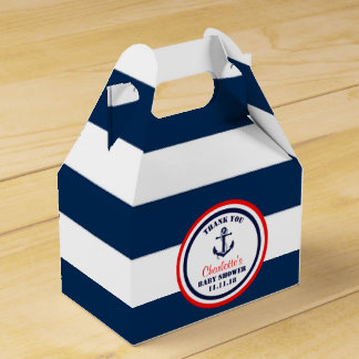 Personalized Navy Blue Red Nautical Baby Shower Favour Box