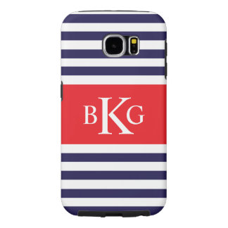 Personalized Navy Blue Red Stripes Samsung Galaxy S6 Cases