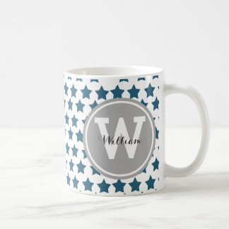Personalized Navy Blue Stars Coffee Mug
