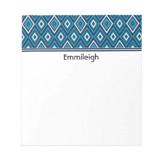 Personalized Navy Blue Teal White Diamond Pattern Notepad