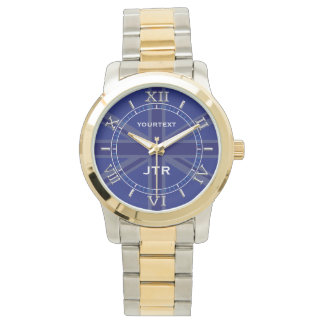 Personalized Navy Blue Union Jack Dial Watch