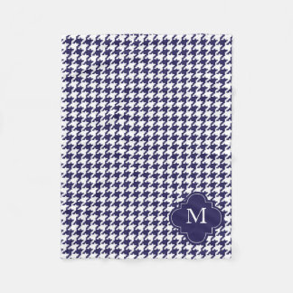 Personalized Navy Blue & White Houndstooth Pattern Fleece Blanket