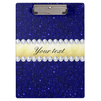 Personalized Navy Sequins, Gold, Diamonds Clipboard