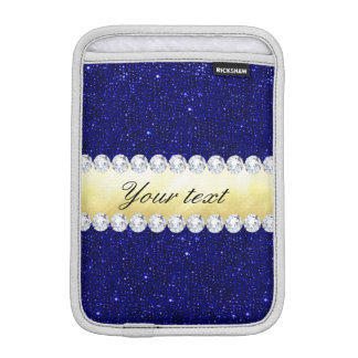 Personalized Navy Sequins, Gold, Diamonds iPad Mini Sleeve