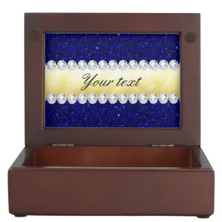 Personalized Navy Sequins, Gold, Diamonds Keepsake Box
