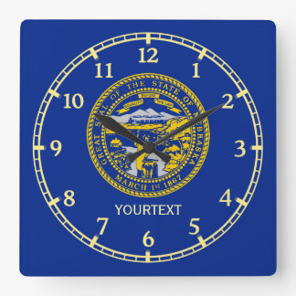 Personalized Nebraska State Flag Design on a Square Wall Clock