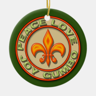 Personalized Neon Fleur de Lis Peace Love Gumbo Ceramic Ornament