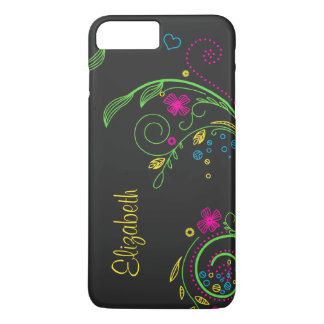 Personalized Neon Floral Flower iPhone 8 Plus/7 Plus Case