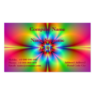Personalized Neon Fractal Flower Business Card