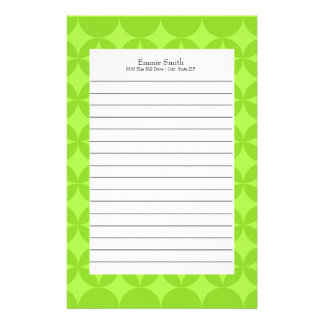 Personalized Neon Green Abstract Lined Stationery