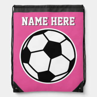 Personalized neon pink girls soccer drawstring bag