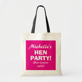 Personalized neon pink hen party night tote bags