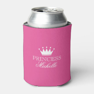 Personalized neon pink princess crown can coolers