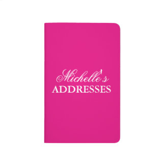 Personalized neon pink solid color address book