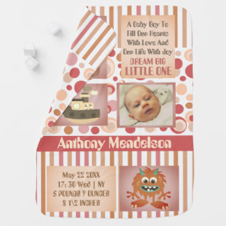 Personalized neutral baby birth stats baby blanket