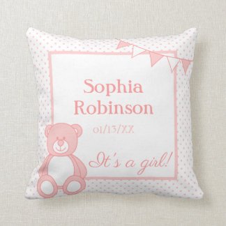 Personalized New Baby Girl Teddy Bear Pillow Throw Cushion