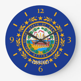 Personalized New Hampshire State Flag Design on a Wallclock