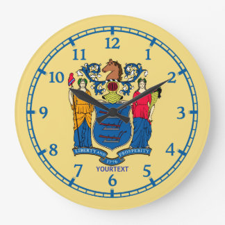 Personalized New Jersey State Flag Design on a Large Clock