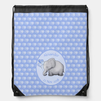 Personalized New Mom's Polka Hearts Elephants Drawstring Bag