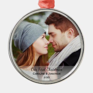 Personalized Newlywed Photo Our First Christmas Metal Ornament