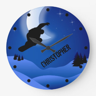 Personalized Night Snowboarding Mountain and Moon Large Clock