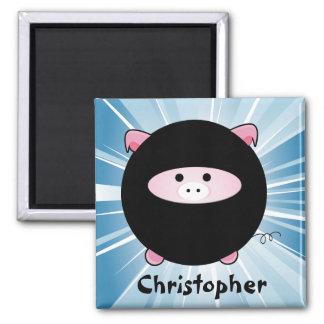 Personalized Ninja Pig on Blue Magnet
