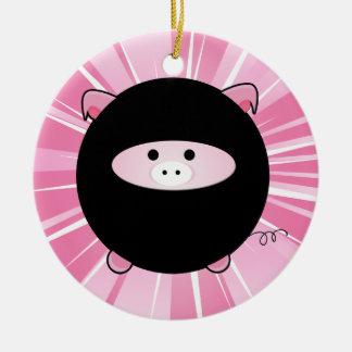 Personalized Ninja Pig on Pink Ceramic Ornament