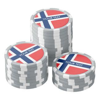 Personalized Norwegian flag poker chips