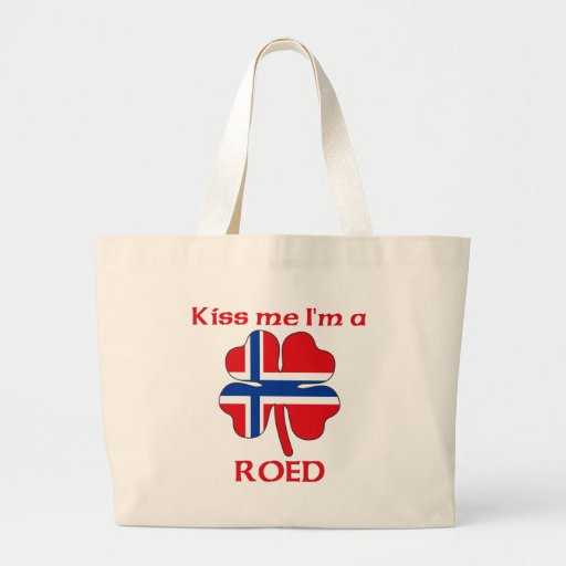 Personalized Norwegian Kiss Me I'm Roed Canvas Bags
