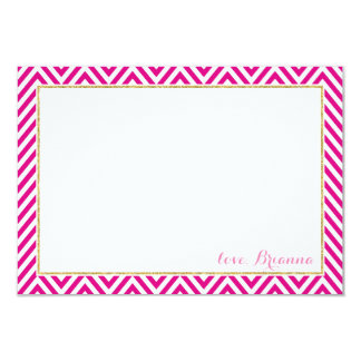 PERSONALIZED NOTE chervon pattern gold hot pink Card