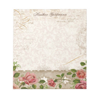 Personalized Note Pad Name, Trellis Rose Vintage