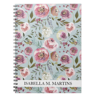 Personalized Notebook Custom Watercolor Floral