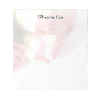 Personalized notepads with pink rose photo image