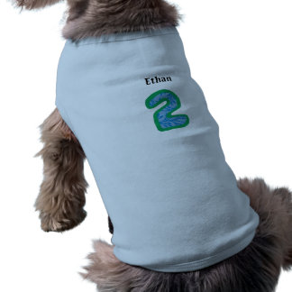 Personalized Number Two Doggie Tank Top Sleeveless Dog Shirt