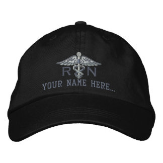 Personalized Nurse RN Your Text Medical Caduceus Embroidered Hat