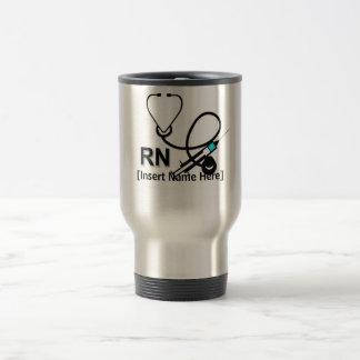 Personalized Nurse with Stethoscope and Heart Travel Mug