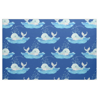 Personalized Nursery Baby Boy Cute Whale Waves Art Fabric